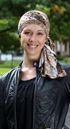 Our Brooke Pre-tied Headscarf for cancer patients is ready to go in seconds with no folding or tying. Fall head scarves chemo. Boho