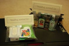 Easy to make wedding survival kits for the bridesmaids and groomsmen!---also some really good wedding ideas in general.