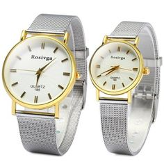 Rosivga 185 Couple Quartz Watch with Steel Net Strap Round Dial-8.76 and Free Shipping| GearBest.com