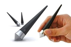 A pen that won't roll off your desk, for those that still write things on paper. Slanda pen by Gustav Innovation.