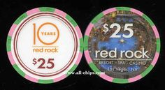 #LasVegasCasinoChip of the Day is a $25 Red Rock Casino 10 Years chip you can get here https://www.all-chips.com/ChipDetail.php?ChipID=19260 They also made a $5 and $10 to celebrate their 10th Anniversary. #CasinoChip #LasVegas #RedRock