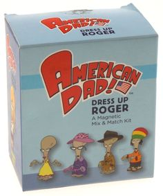 ce007b64 American Dad Dress Up Roger Magnetic Mix Match Mini Kit Glasses Hat Tie  Book American Dad