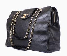 Chanel Lambskin Overnighter Weekender Shoulder Bag Vintage XL