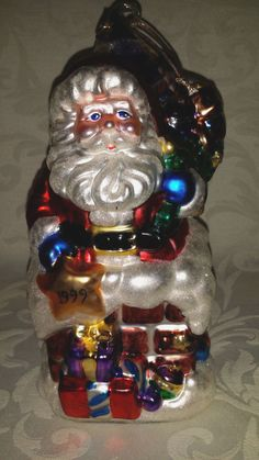 Blown Mercury Glass Santa Clause and Frog Christmas Ornament 2000 Beautiful