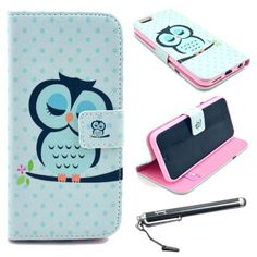 "6 Plus, iPhone 6 Plus Case, iPhone 6 Plus 5.5"" Case, Speedtek OWL Pattern Premium PU Leather Wallet Flip Protective Skin Case with Magnetic Closure for Apple iPhone 6 Plus 5.5"" (2014) (Built-in Credit Card/ID Card Slot)"