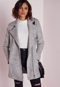 Wool Biker Jacket grey - Coats And Jackets - Biker Jackets - Missguided