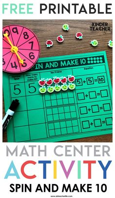 Spin and Make 10 – Freebie Math Game – A Kinderteacher Life - Education and lifestyle 1st Grade Math, Kindergarten Activities, Teaching Math, Kindergarten Addition, Primary Teaching, Grade 1, Teaching Ideas, Math Stations, Math Centers