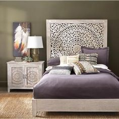 Bring an ultimate focal point for your bedroom with this Home Decorators Collection Chennai White Wash Queen Platform Bed. Raised Platform Bed, Queen Platform Bed, White Platform Bed, Platform Bedroom, Home Decor Bedroom, Bedroom Furniture, Moroccan Bedroom Decor, Bedroom Ideas, Master Bedroom