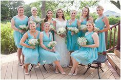 Chiffon Bill Levkoff Bridesmaid Dresses in Glacier | Claire & Paul | Norfolk Chesapeake Rustic Wedding Photography