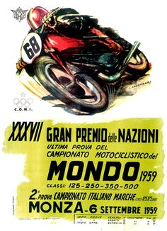 1959 Italian Grand Prix | Monza |  International Grand Prix Motorcycle Racing | Classic Retro Vintage Race Poster