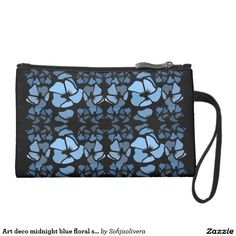 Art deco midnight blue floral sueded mini clutch. Black and blue, fashionable and sassy, both modern and delightfully old-fashioned tote bag. Fall 2016. design trend. High quality product designed by independent artist. #ArtMeetsFashion