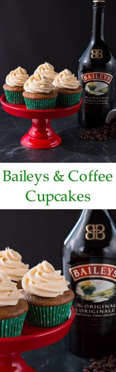 Baileys & Coffee Cupcakes These soft and fluffy cupcakes are infused with a lovely coffee flavor and spiked with an Irish cream whiskey buttercream. They have all the flavors of an Irish coffee in a cupcake form. Best Dessert Recipes, Coffee Recipes, Cupcake Recipes, Fun Desserts, Delicious Desserts, Yummy Food, Cupcake Flavors, Baker Recipes, Irish Cream Whiskey