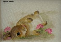 bunny rabbit painting watercolor  free shipping in USA by 4WitsEnd, $45.00