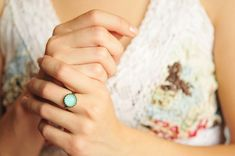 Little mint green mood ring adjustable ring statement by SomeMagic, $9.50