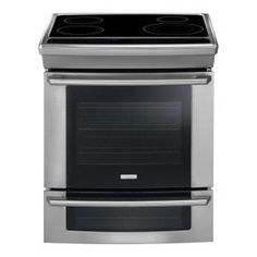 Electrolux - 30 in. Slide-In Double Oven Electric Induction Range with Self-Cleaning Convection Oven in Stainless Steel - The 4 element cooktop features induction cooking technology. Double Oven Electric Range, Double Ovens, Small Appliances, Kitchen Appliances, 4 Elements, Slide In Range, Oven Range, Wall Oven, Cool Kitchens