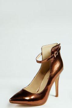 Iris Metallic High Vamp Ankle Strap Heels at boohoo.com