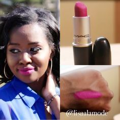Best pink lipstick for dark skin! Mac cosmetics flat out fabulous #lipstick #swatch and review on #darkskin.