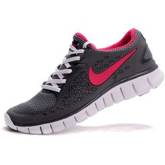 Nike Free Run+ Grey Pink Womens Running Shoes New Colors 2011 nike air... ❤ liked on Polyvore