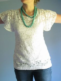 lace top tutorial. I guess I should learn to use a sewing machine. My mother has already said she won't do it for me...
