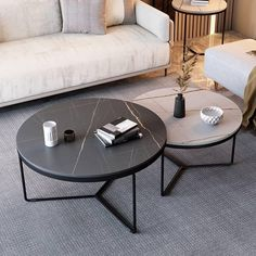6 Basic Items From Shopee For The Minimalist Home | Qanvast Round Coffee Table Sets, Round Nesting Coffee Tables, Stone Coffee Table, Coffee Table Grey, Nesting Tables, Sofa Side Table, Side Tables, Industrial Side Table, Modern Home Furniture
