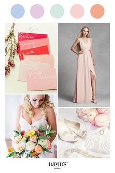 Pretty pastels are romantic and fresh for wedding colors. Find a rainbow of options and create the palette of your dreams at davidsbridal.com.