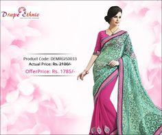 Be Elegant. Be Graceful. Be Ethnic.  For More Glamorous #Saree Visit : www.drapeethnic.com  #DrapeEthnic