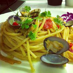 Spaghetti con le vongole rosè
