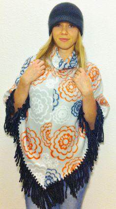 Soft and Warm Fleece Flower Poncho by KeylaStar on Etsy
