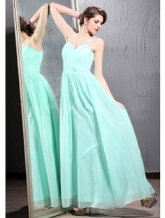 A-line Sweetheart Spaghetti Strap Floor-Length Chiffon Long Dresses