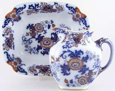 Ewer and Bowl c1903 Doulton Nankin blue with colour