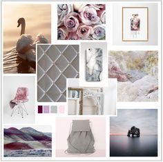 Dreamy Shades of pink grey heather aubergine Grey Linen Memo board Mood Board
