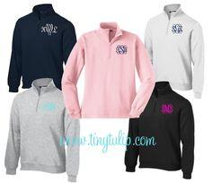 MUST HAVE!  Monogrammed Quarter Zip Pullover Sweatshirt, $44.50 (http://www.tinytulip.com/monogrammed-quarter-zip-pullover-sweatshirt)