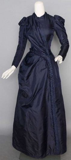 NAVY SILK DAY DRESS, c. 1888