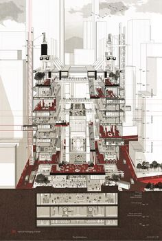 MArch Graduates win at the Cross-Straits Architecture Competition for Graduation Projects - School of Architecture, CUHK Architecture Collage, Architecture Board, Architecture Graphics, Architecture Drawings, School Architecture, Architecture Design, Sections Architecture, Architecture Program, Sectional Perspective