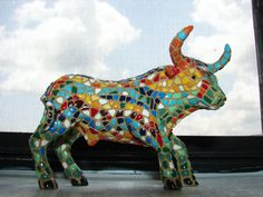 Vintage Bull Hand Painted Colorful by BackStageVintageShop on Etsy