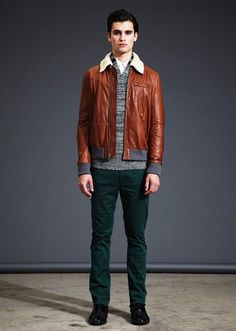 Yigal Azrouel AW12, love the leather/green jeans