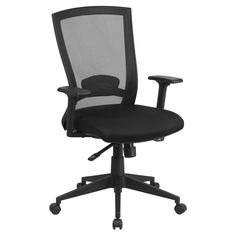 Flash Furniture Mid-Back Mesh Executive Swivel Office Chair with Back Angle Adjustment - HL-0004K-GG