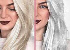 hair highlights tutorials How to Remove Hair Color at Home Fast Say goodbye to brassy or yellow hair and hello to beautiful platinum blonde or silver hair thanks to these awesome sulfate free purple shampoos! Silver Ombre Hair, Dyed Hair Ombre, Silver Blonde, Platinum Blonde, Best Silver Hair Dye, No Yellow Shampoo, Purple Shampoo, Bun Hairstyles, Trendy Hairstyles