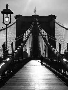Black and white, Brooklyn Bridge, New York, New York