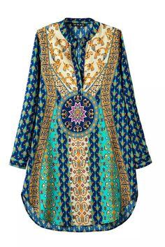 Gypsy Style Boho Chic Hippie Fashion Print Dress