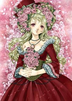 Princess with long wavy blond hair, purple eyes, pink flowers, & red Rococo dress by manga artist Shiitake.