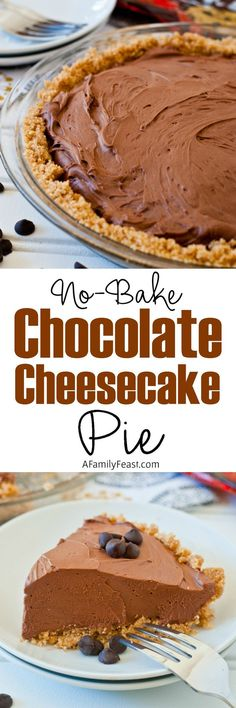 No-Bake Chocolate Cheesecake Pie - An easy chocolate pie #chocolate #nobake #pie