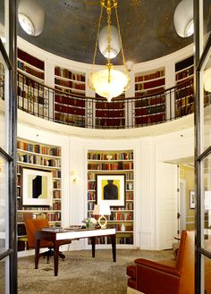 Penthouse, The Fairmont San Francisco - Signature two-story circular library, topped with a gold-leaf rendition of the night sky. There's a secret passage hidden amid the bookshelves.