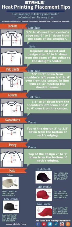 Learn where to place your #heatpress design on all types of garments. #Tshirt #Vinyl
