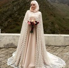 Skin Color Floor Length Gown With Hijab
