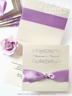 Style Wedding Invitation | Lilac Satin Ribbon Wedding Invitation from www.violet-weddinginvitations.com  #lilac #wedding