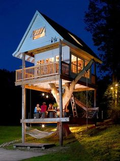 Night Treehouse. Would be a great place to have a bar and music on the lake? (50 treehouses in link)