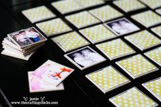 Memory game using family pictures. Use chip board, scrapbook paper, pictures, and modge podge.