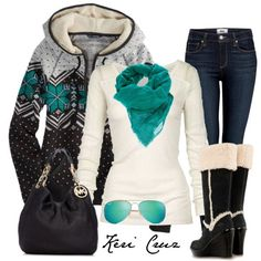 Super cute cold weather outfit!  Not that it's realistic for the tropics ;-) I just like that it's cute