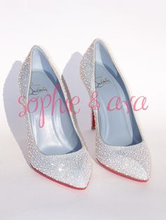 Christian Louboutin Chiara in White Opal  Swarovski crystal shoes hand embellished by Sophie & Ava (SophieAndAva.com)